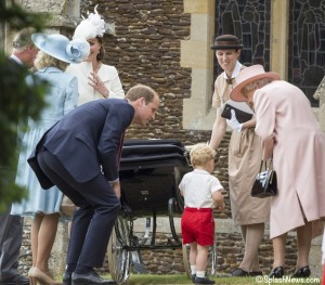 Catherine, Duchess of Cambridge, Prince William, Duke of Cambridge, Princess Charlotte of Cambridge and Prince George of Cambridge, Queen Elizabeth II  leave the Church of St Mary Magdalene on the Sandringham Estate